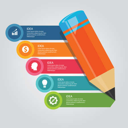 5 steps elements concept of pencil education writing literacy learn academic curriculum template vector Illustration