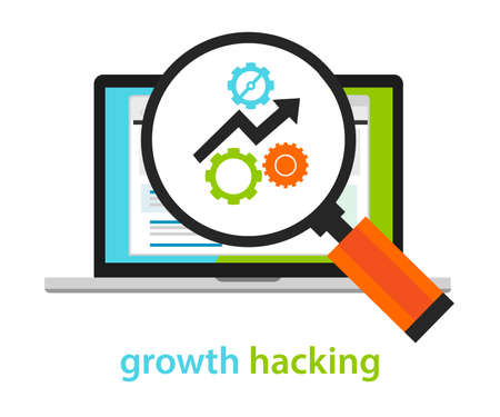 computer work: growth hacking ways how business technology company strategy to improve user and revenue number vecto
