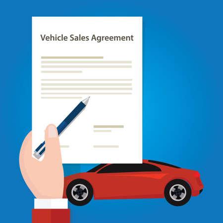 Voiture véhicule document de contrat de vente du papier main tenant le document vecteur Banque d'images - 66602420