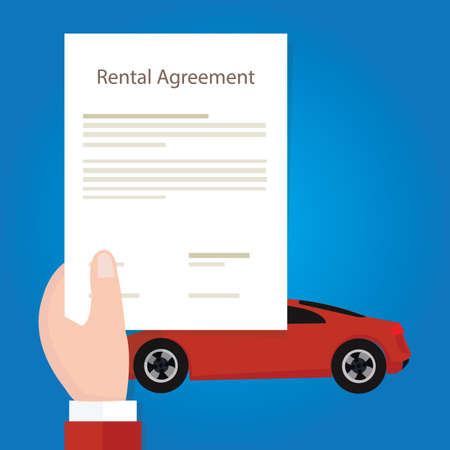 hand holding paper: Rental agreement car hand holding document paper vector
