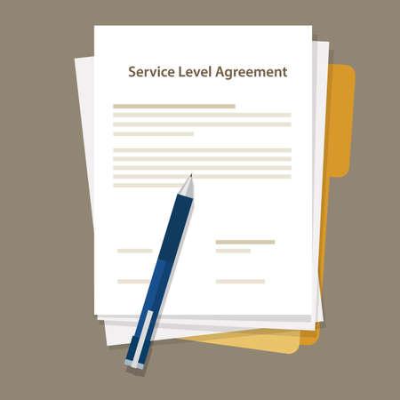 pen and paper: SLA Service Level Agreement document pen paper vector
