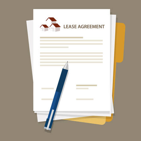 tenancy: Lease agreement property house document paper pen vector