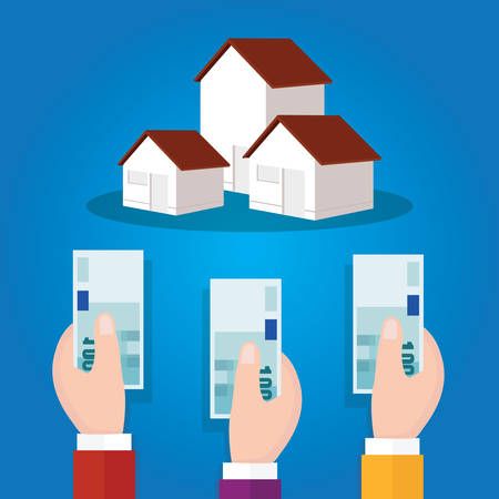 auction bidding home house property concept sale hand holding cash money vector