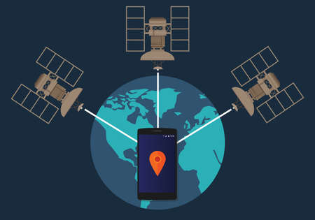 satellite: GPS global positioning system satellite phone location tracking how method technical vector