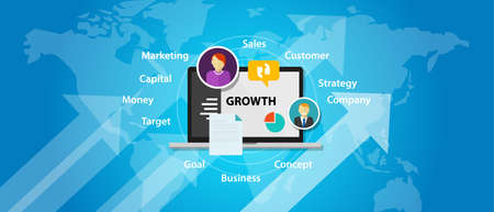 increase business: growth business company marketing sales concept increase arrow vector