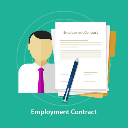 surety: employment contract paper document desk and hand human resources vector