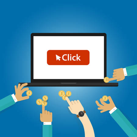ppc: pay per click ads bidding auction buying traffics website PPC advertising vector Illustration