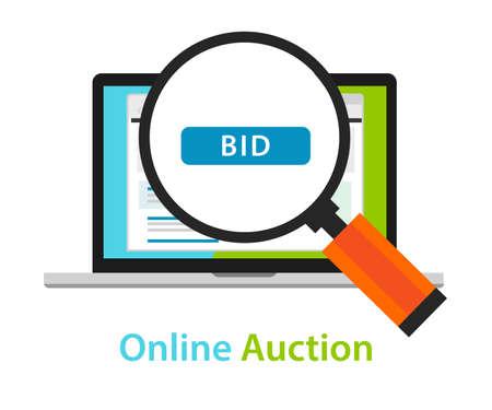 bid: online bidding auction laptop bid button concept icon vector