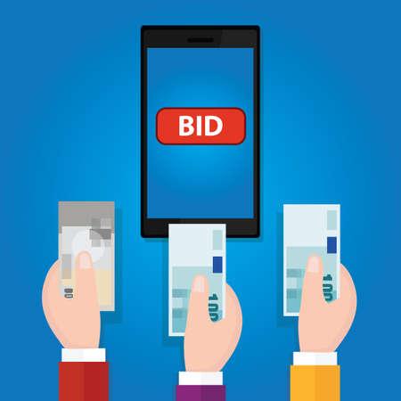 bid: subasta de licitación en línea del teléfono móvil botón de la oferta de mano de vectores dinero recaudado dinero en efectivo