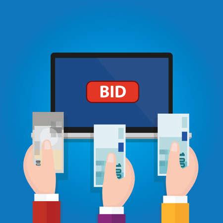 money button: online bidding auction laptop bid button hand raised money cash vector