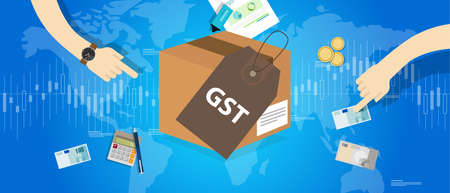 global finance: GST Good and Services Tax vector illustration concept