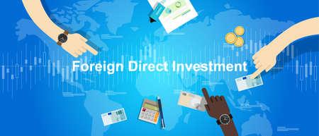 FDI Foreign Direct Investment vector concept illustration Illustration