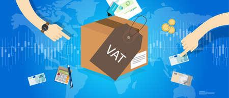 Mehrwertsteuer Mehrwertsteuern Konzept Vektor-Illustration Geld