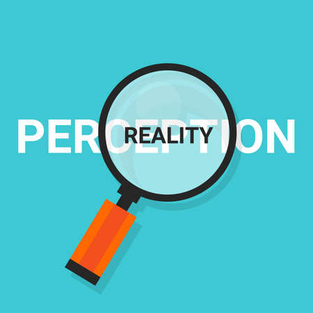 truth: perception reality magnifying find truth vector concept Illustration
