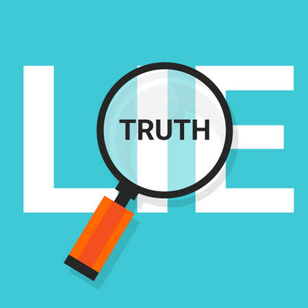 truth: truth lie symbol text magnify magnifying find truth vector