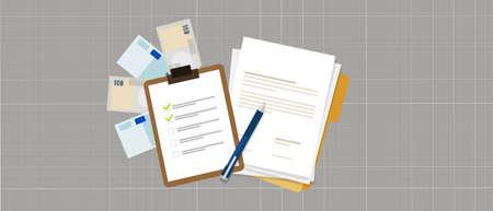 task list preparation contract document money loan credit vector