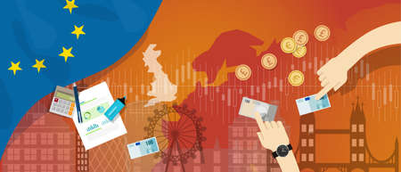 Europe UK England economy after Brexit British exit vector Illustration