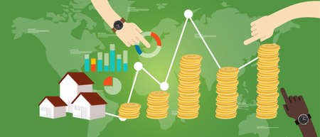 home finances: property fund money house real estate investment growth vector
