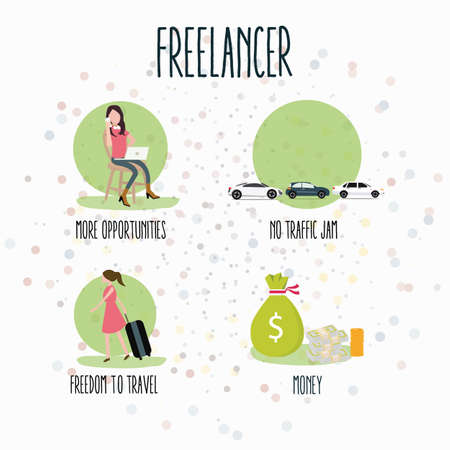 flexible business: freelancer flexibility working anywhere flexible concept laptop freedom creative jobs from home vector