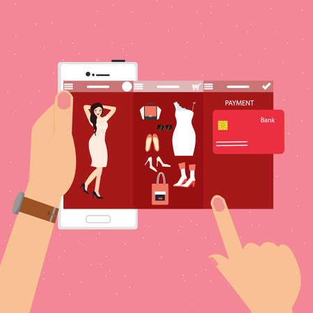 smart phone woman: fashion woman mobile shopping e-commerce smart phone transaction payment technology vector Illustration