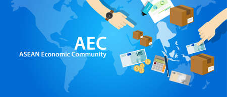 aec: AEC ASEAN Economic Community Association of Southeast Asian Nations vector
