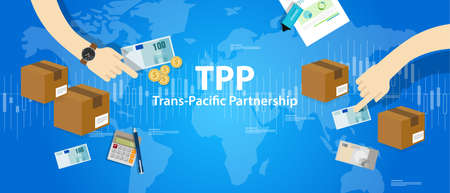 pacific: TPP Trans Pacific Partnership Agreement free market trade international vector Illustration