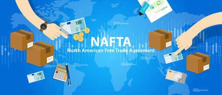 nafta: NAFTA North American Free Trade Agreement vector Illustration