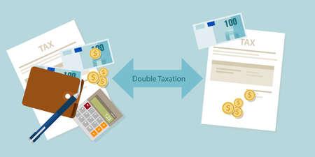 Dubbele belasting concept van betaling belast tweemaal vector