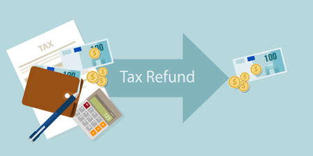 tax: Tax refund money cash after calculation illustration vector