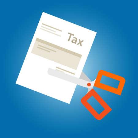 Tax amnesty cut paper scissor illustration, government forgive taxation vector