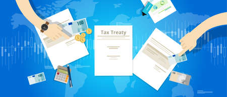 treaty: Tax treaty between country international agreement deals vector Illustration