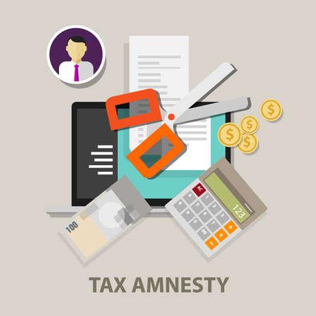 Tax amnesty, scissor illustration, government forgive taxation vector