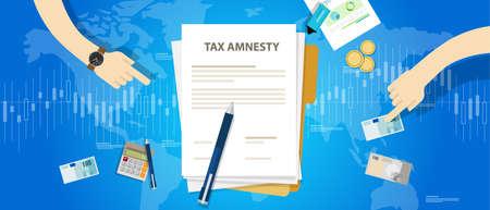 perdonar: Amnistía fiscal ilustración, el gobierno perdona vector de imposición Vectores