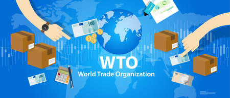 WTO World Trade Organization vector illustration market Иллюстрация