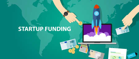 start-up funding company launch rocket business investment money cash vector Иллюстрация
