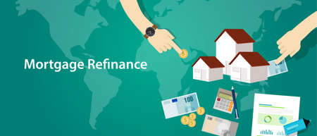 refinance: mortgage refinance home house loan debt vector Illustration