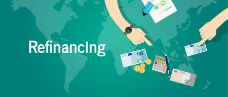 Refinanzierung Business-Konzept Schuldenproblem Vektor Geldanlage