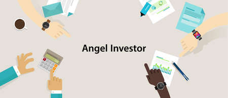 ownership equity: angel investor money fund management startup vector