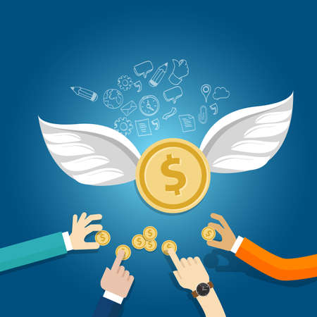 angel investor money fund management startup coin wings fly vector