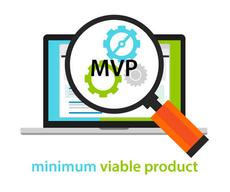 mvp: MVP minimum viable product start-up working gear software vector
