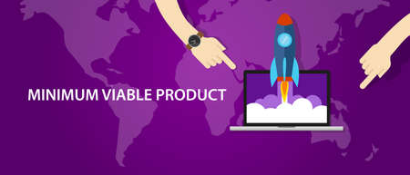 MVP minimum viable product rocket launch vector Illustration