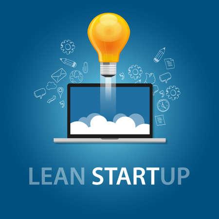 Lean Start-up-Produkt-Launch Glühbirne Idee Technologie-Unternehmen Vektor