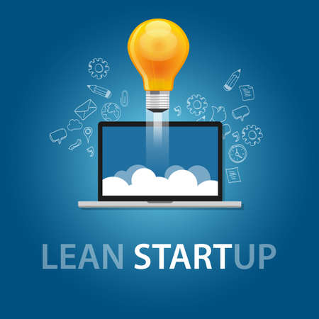 lean start-up product launch bulb idea technology company vector