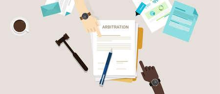 Arbitragerecht geschillenbeslechting wettelijk conflictoplossing vector Stockfoto - 67576225