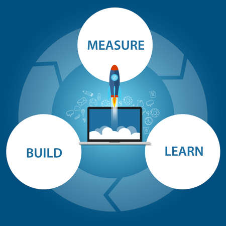 lean start-up build learn measure rocket launch techology vector Çizim