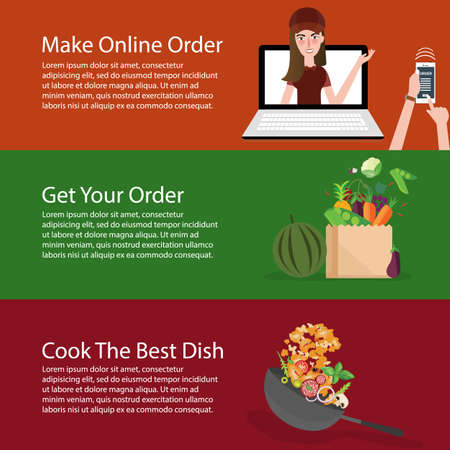 vegetable cook: order online groceries get the vegetable and cook it banner set vector