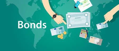 Anleihen Unternehmen Corporate Fonds zur Finanzierung von Vektor-Papier Standard-Bild - 67580152