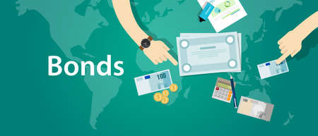 equidad: bonos de empresa fondos de la empresa de papel de financiación del vector Vectores