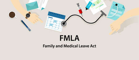 pay off: FMLA Family and Medical Leave Act vector employee