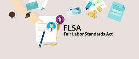 acronyms: FLSA Fair Labor Standards Act paper employee vector